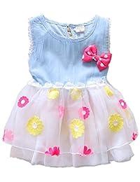 Baby Girl Short Sleeve Lace Princess Party Kid Summer Denim Dress Skirt