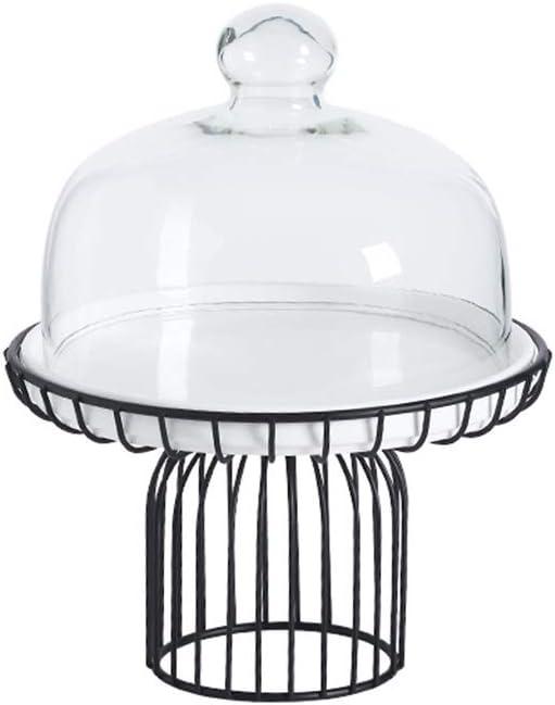 plaque p/âtissi/ère en c/éramique avec base en verre et verre Couvercle Caf/é Sandwich Dessert D/ôme Plateau de fruits Stands Cake Z-W-DONG Restaurant D/écoration Dessert Rack Size : 20.8*20.8*25.2CM