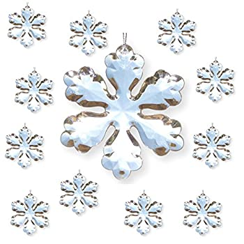 """Clear Acrylic Snowflakes - Set of 12 Snowflake Ornaments 4"""" - Winter Decorations - Snowflake Decorations"""