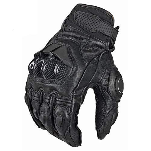 Herren Motorrad handschuh, Kohlefaser Leder Motorradhandschuh Winddichte Vollfinger Moto Handschuhe No-Slip Gel Pads…
