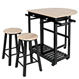 ZENY Home Kitchen Furniture 3-Piece Table Dining Set Wooden Rolling Kitchen Trolley Cart Island Foldable Table Drop Leaf,Breakfast Bar,Dining Table Set w/2 Stools