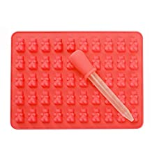 50 Cavity Silicone Gummy Bear Chocolate Mold Candy Sugar Ice Tray Jelly Non-Stick Tray Maker Red