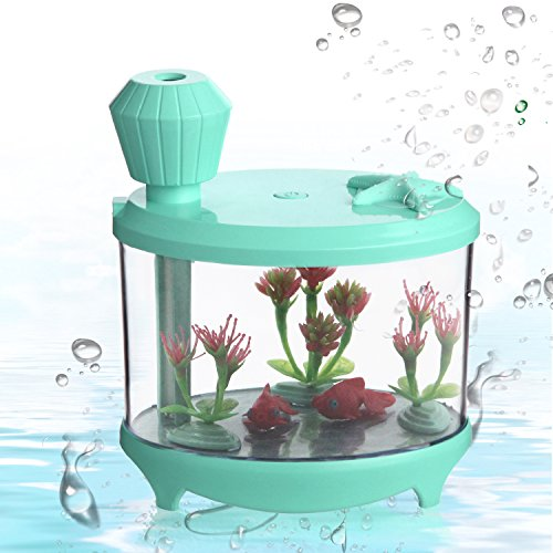 Mini Ultrasonic Humidifier Green - Azmall Cool Mist Humidifier Essential Oil Diffuser Portable USB Air Purifier, 460ML Fish Tank Mist Humidifier with 7 Changing Color LED Lights by Azmall