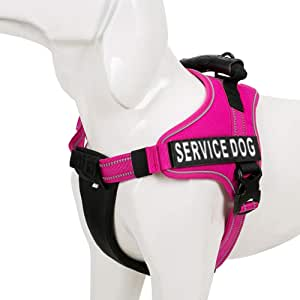 Chai's Choice Service Dog Vest Harness Best 2 Reflective Service Dog Patches and Sturdy Handle. Small to Large Breed. 8 Colors and Matching Padded Leash Available. Sizing Chart at Left