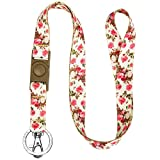 #9: Blueberry Pet Spring Scent Inspired Rose Print Ivory Women Fashion Lanyard Keychain for Keys/ID Card/Badge Holder with Safety Breakaway Release Buckle, 3/4 × 22 1/2