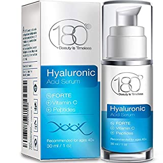 Hyaluronic Acid Serum w. Peptides + Vitamins C & E - Extra Strong - Ages 40 to 50 - Improved Tone & Elasticity - Concentrated Facial Serum for Plumper Smoother Skin - 180 Cosmetics - 1 oz