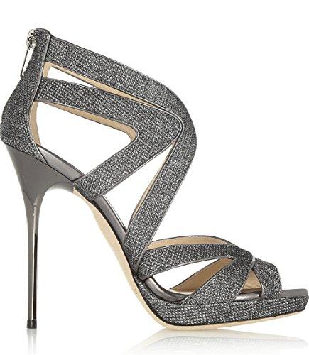 Toe Sandalias Nvxie Sexy Silver Alto Mujer Peep Talones Fiesta Señoras Zapatos Noche Estilete Paseo xwZYpq1