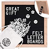 Letter Board - Black Felt Changeable, 340 White Letters, 10x10 inch, Includes Emoji, Numbers, Stand, Scissor, Filers, Wood Oak Frame, Wooden Message Board Sign, Cotton Bag, JL Brands