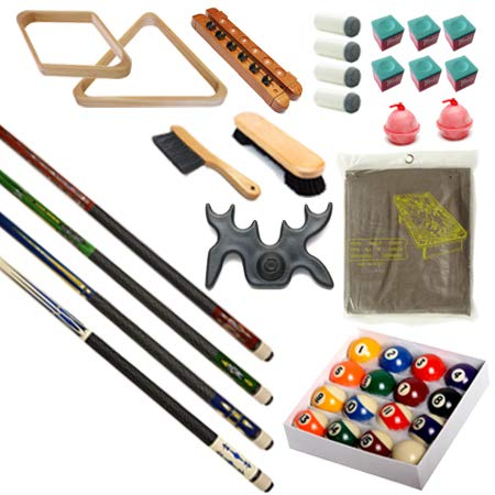 Pool Table - Premium Billiard 32 Pieces Accessory Kit - Pool Cue Sticks Bridge Ball Sets (Kit-12) (Pool Table Parts Accessories)