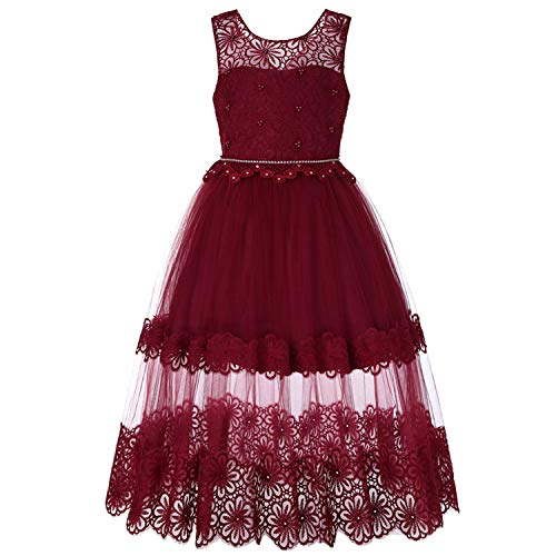 Kids Dresses for Girls Clothes Chiffon Girls Dress Wedding Birthday Party Costume for Kidss,Red,6 ()
