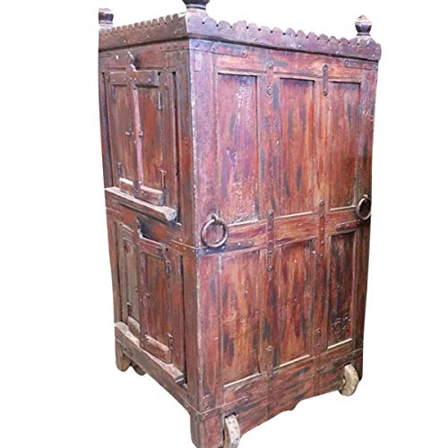 Antique Almirah Red Cabinet Vintage Indian Armoire on Wheels Mediterranean Boho Shabby Chic Interiors