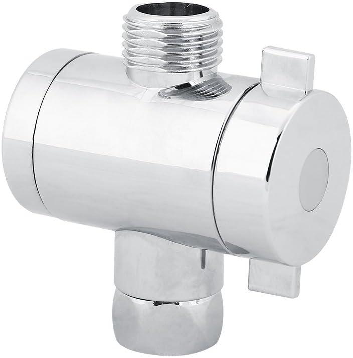 Desviador de ducha de 3 v/ías V/álvula de cabeza Desviador de agua Separador de grifo de fregadero ajustable para reemplazo de accesorios de ba/ño en el hogar
