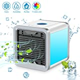air cooler and humidifier - COMLIFE Mini Portable Evaporative Air Cooler, 4 in 1 Personal Space Air Cooler, Humidifier and Purifier, Desktop Air Conditioner Fan with 3 Speeds and 7 Colors LED Night Light