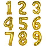 40 Inch Gold Digital Helium Foil Birthday Party Balloons (Number 5, Gold)