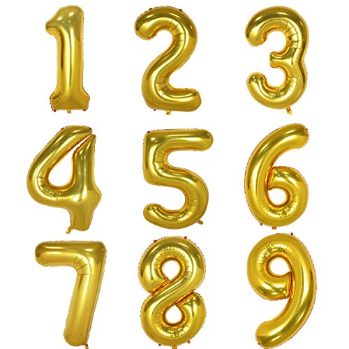 (40 Inch Gold Digit Helium Foil Birthday Party Balloons Number 1)