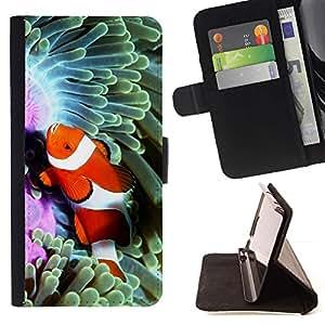 Momo Phone Case / Flip Funda de Cuero Case Cover - Payaso fresco pescado En Coral - Apple Iphone 4 / 4S