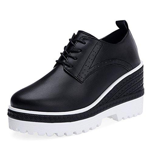 zapatos negros/con suela gruesa en el otoño/Alta con la versión coreana de los zapatos de plataforma Joker estudiante B