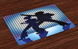 Ambesonne 70s Party Place Mats Set of 4, Couple Silhouettes on the Dance Floor in Night Life Oldies Seventies Fun, Washable Fabric Placemats for Dining Room Kitchen Table Decor, Blue Purple Black