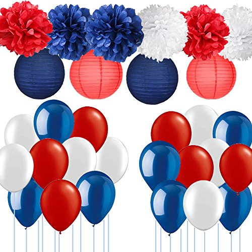 Nautical Party Supplies-Navy Blue Red mix White Pom