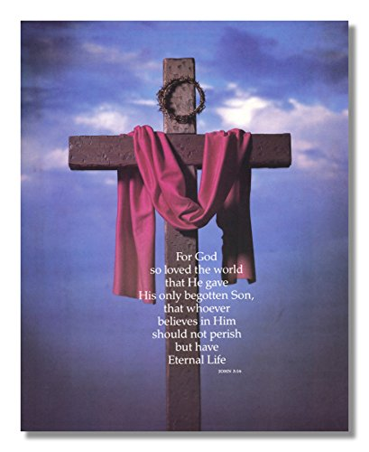 Cross Sash Crown of Thorns John 3:16 Religious Wall Picture 8x10 Art Print