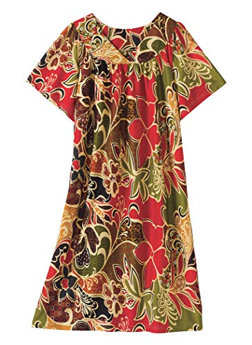 AmeriMark Lounger House Dress with Pockets for Women Muu Muu Nightgown Sage Multi 1X (Dresses Patio Size Plus)
