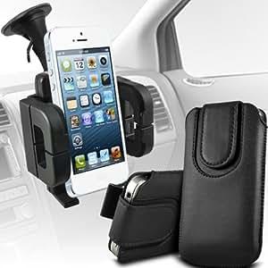 Huawei Ascend G615 premium protección PU botón magnético ficha de extracción Slip espinal en bolsa de la cubierta de piel de bolsillo rápido con soporte universal de la succión del parabrisas del coche cuna Vent Negro por Spyrox