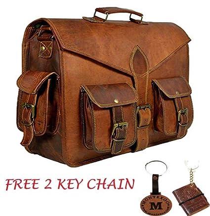 dbf7e35fd089 Vintage Leather Messenger Bag for Men Laptop Briefcases 18'' Satchel  Handmade Bag