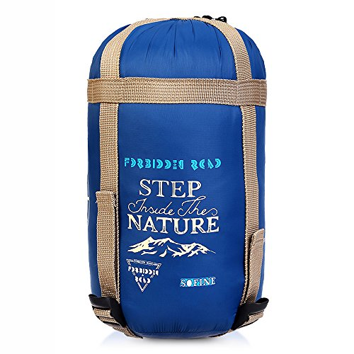 Forbidden Road Portable Sleeping Bag Single 15℃/ 60℉ (5 Colors) 380T Nylon Lightweight Water Resistent Envelope for Man Woman Camping, Hiking, Backpacking (Navy Blue - Nylon, 15 ℃ / 60 ℉)
