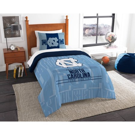 NCAA North Carolina Tar Heels Ultimate 10pc Ensemble: Includes twin comforter, sham, twin flat sheet, twin fitted sheet, pillowcase, rug, toss pillow, throw, and 2 curtain panels ()