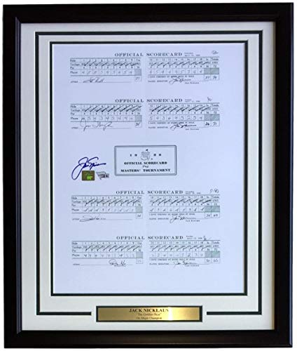 Jack Nicklaus Autographed Signed Framed 16x20 1986 Masters Weekend Scorecards Photo Fanatics - Certified Authentic