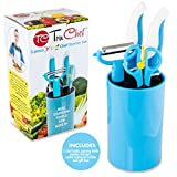 TruChef Kids Cooking Set (5 Piece) - Encourage 80% More Healthy Eating, Creativity & Hand Eye Coordination & Teach Vital Life Skills w/Kids Chef Set Real Educational Cooking Equipment