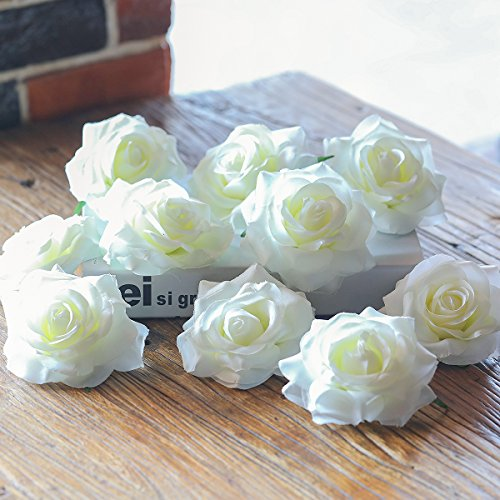 PARTY JOY Artificial Silk Rose Flower Heads Fabric Floral DIY For Wedding Home Flower Wall Decor,Pack of 10 (Milk white) (Floral Rose Fabric)