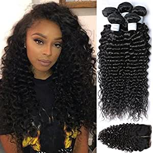 Etino 4Pcs lot Brazilian Virgin Hair Free Part Lace Closure With 3 Bundles 100% Unprocessed Human Hair Weave Extension Deep Wave (8inch 10inch 12 inch+8closure)