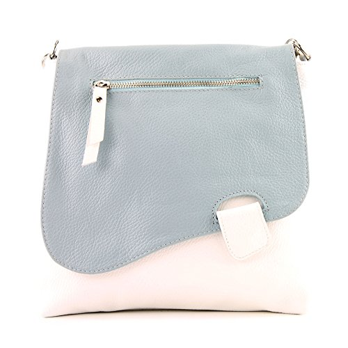 modamoda de - Made in Italy - Bolso cruzados para mujer Weiß/Eisblau