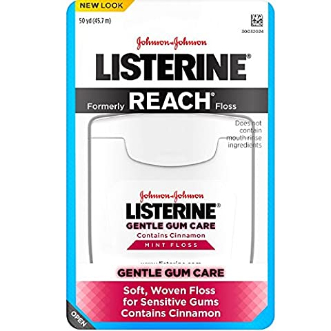 Listerine Gentle Gum Mint Floss, With Cinnamon 50 Yards (Pack of 3) - Gentle Gum Care Woven Floss