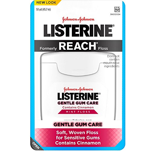 Listerine Gentle Gum Care Interdental Floss for Sensitive Gums, Oral Care, Mint, 50 Yards (Pack of 4) from Listerine