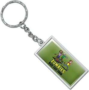 Graphics and More Zombies Hate Fast Food Funny Rectangle Keychain in Chrome Plated Metal