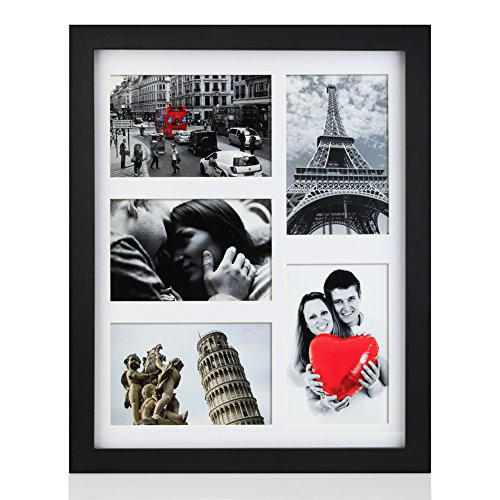 (RPJC 11x14 Picture Frames Collage - Display 5 Pcs 4x6 Photos with Mat Made of Hardwood and Glass Cover)