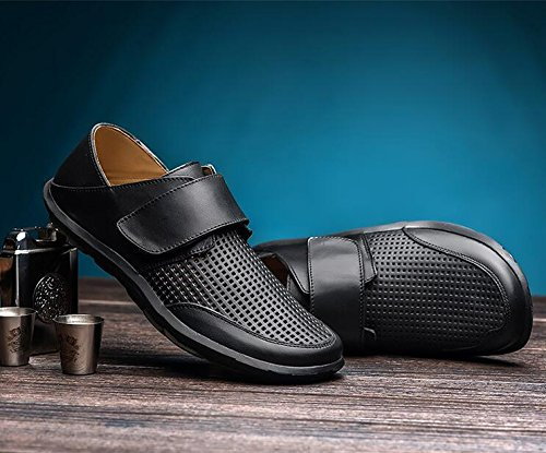 NBWE Hommes d'été Affaires Chaussures en Cuir Décontracté Trou Chaussures Creux Respirant Chaussures Black2 w7jF4
