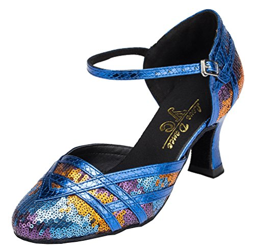 Talon Latine Mid Yfyc Cfp Pu Bleu Chaussures Piste nbsp;femme Tango De Danse l155 zOtqTA