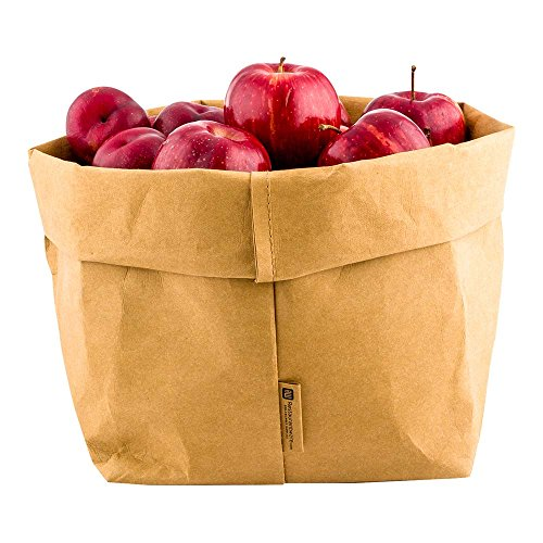 (Kraft Washable Paper Bags, Reusable Paper Bag, Durable, Long Lasting - Kraft - 7.9 x 9.8 Inches - Duralux - 1ct Box - Restaurantware)