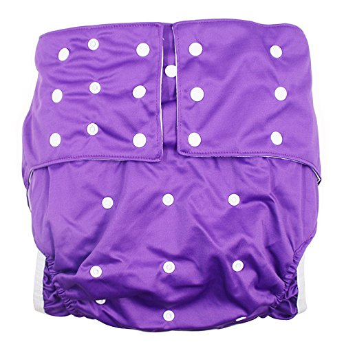 LukLoy Womens Adults Cloth Diapers for Incontinence Care Protective Underwear -Dual Opening Pocket Washable Adjustable Reusable Leakfree for Waist Large Size 65~135cm (Purple)