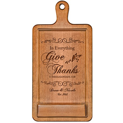 Personalized Cherry iPad Cook book Recipe holder with stand under counter for Kitchen with Family Name and Year Established In Everything Give Thanks date Wedding Gift ideas for Him Her Couple by LifeSong Milestones