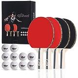 Upstreet The Box Set: 4 Ping Pong Paddles with 3 Star Ping Pong Balls for Table Tennis