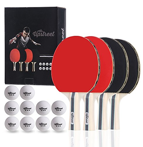 Paddle Set - Upstreet The Box Set: 4 Ping Pong Paddles with 3 Star Ping Pong Balls for Table Tennis
