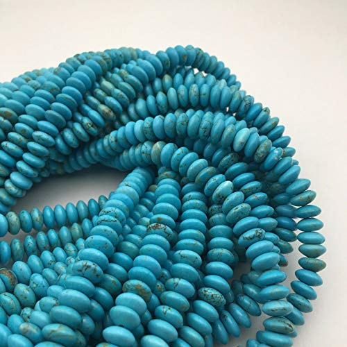 Turquoise Disc - Bead Jewelry Making Blue Turquoise Smooth Rondelle Discs Gemstone Loose Beads Size 4x8mm