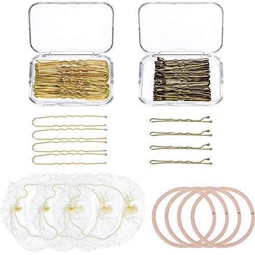 126 Pieces Hair Styling Accessories Set Bun Maker Bobby Pins U-shaped Hair Pins Invisible Hair Nets Elastic Hair Ropes for Girls Women (Gold, Light Coffee)