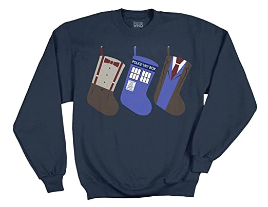 f8dcf482d3 Doctor Who Christmas Stockings Mens Navy Blue Pullover Sweater. Roll over  image to ...