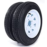 MILLION PARTS Set of 2 12' Trailer Tires & Rims 4.80-12 480-12 4.80 X 12 4 Lug 4PR Wheel White Spoke