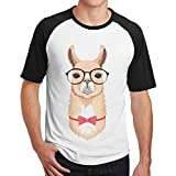 Sakanpo Men Cute Geek Llama with Glasses and Bow Tie Short Sleeve Baseball Tshirt Black